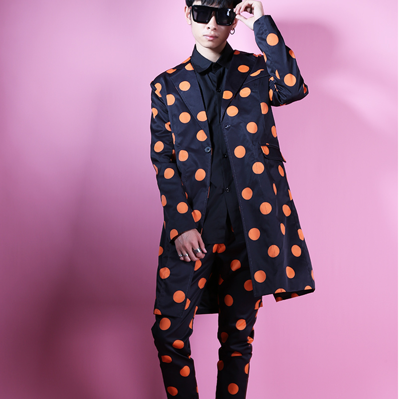 Custom Made Men Dots Suits Sets (jacket+pant) Long Casual Suit Jacket Male Fashion Slim Fit Blazers Coat Stage Clothes