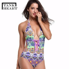 Tank Heart New V-neck Print Plus Size Swimwear Women Large size One-Piece Swimsuit Bathing Suit swimwear bodysuit saida de praia