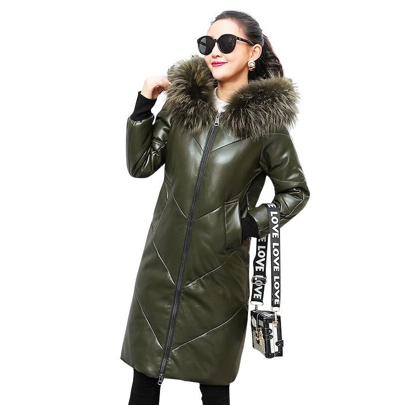 Gran Invierno Green Cuero Collar Abajo Wq767 Abrigo Capucha Más De Moda Real gray Con Marca black Grueso Mujer 90 Parkas Oversize Piel wHgW7qtxaE