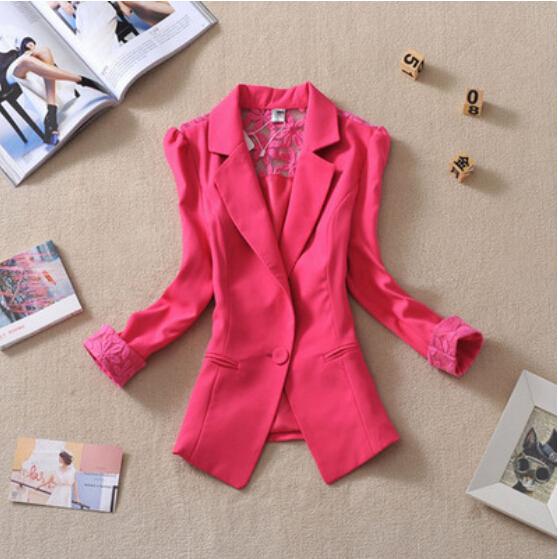 2017 New Female short design slim suit blazer elegant three quarter sleeve thin outerwear women casual summer jacket