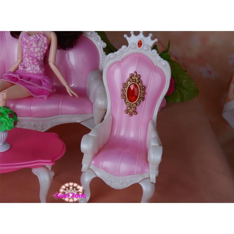 Miniatur Perabot Puteri Ruang Hidup untuk Barbie Doll House Mainan - Anak patung dan aksesori - Foto 4