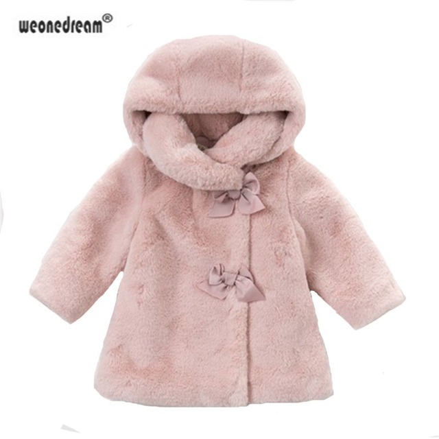 3d54cb93fbea WEONEDREAM Girls Fur Coat With Bow Autumn Winter Wear Clothes Baby ...