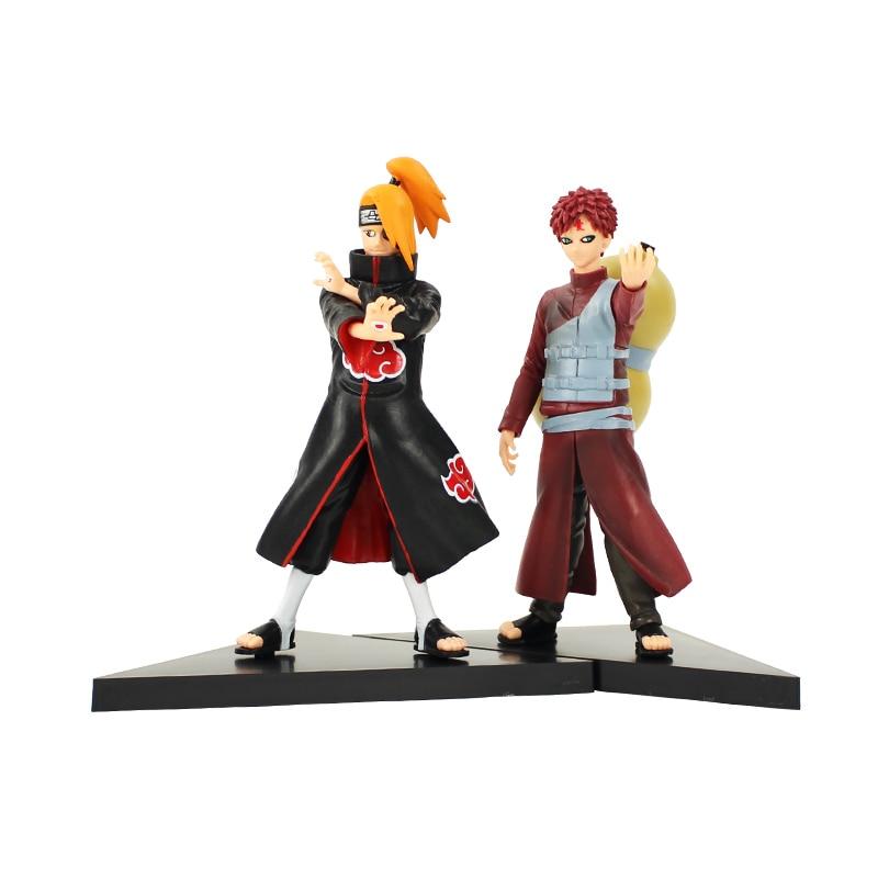 2pcs/lot Anime Naruto Shippuden Gaara Deidara Action Figure Toys PVC Dolls for Chidren Gift стоимость
