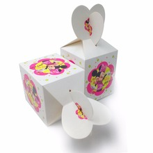 6pcs set Minnie Mouse Paper candy Box Cartoon Happy Birthday Decoration Theme Party Supplies Kids Girl Pink