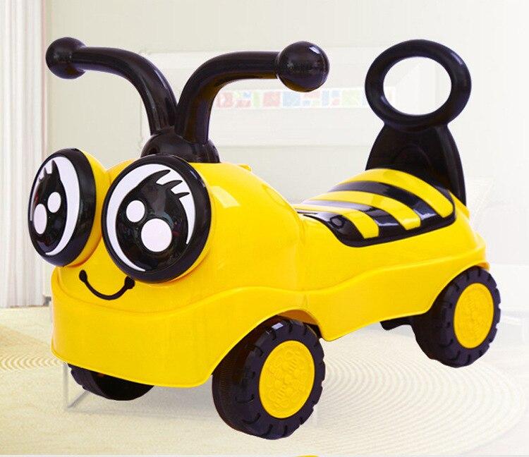 Abeille monter sur jouets voiture dessin animé bébé marcheur voiture avec musique lumières quatre roues rouleau torsion voiture enfants Scooter bébé voiture tour sur jouets