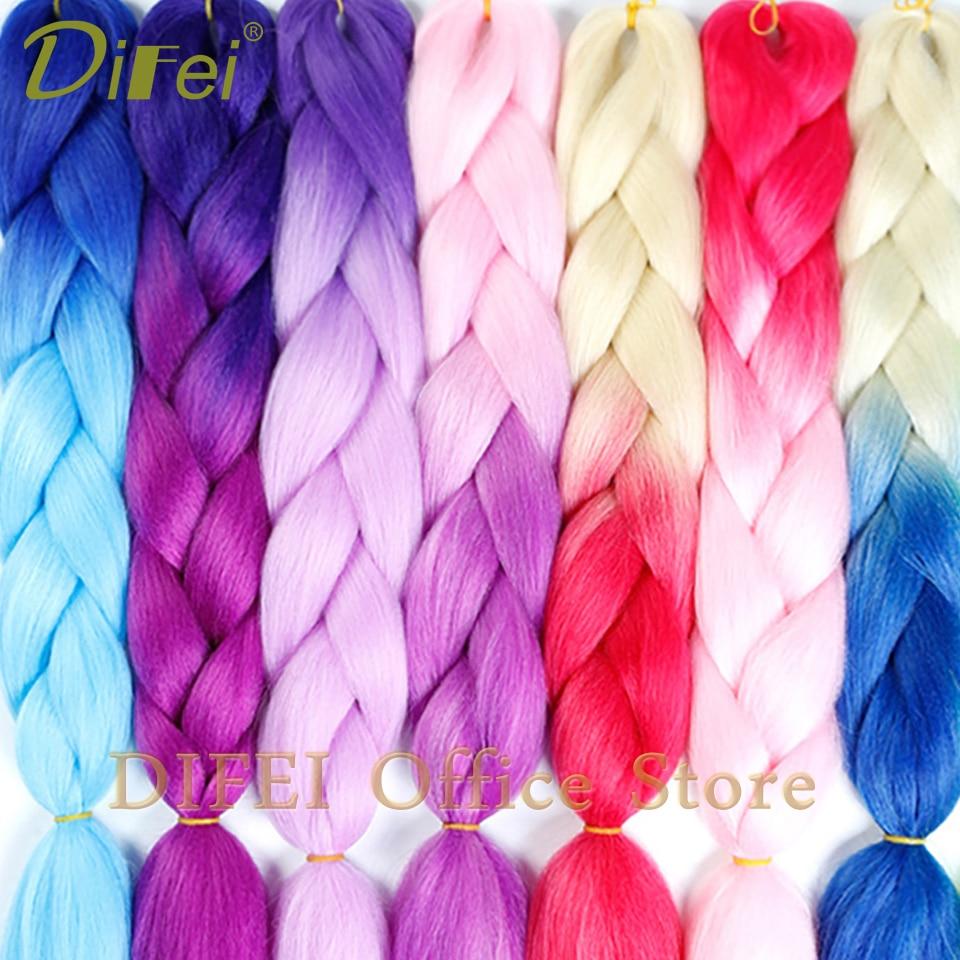 Hair Braids Difei 24inch Synthetic Jumbo Braids Hair 100g/pack Kanekalon Hair Blonde Pink Blue Braiding Hair Extensions Crochet Hair