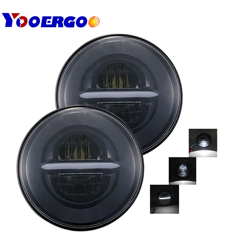 купить For Jeep Wrangler Led Headlight 7inch Round High Low Beam DC 12v 24v Lights headlamp For Lada 4x4 urban Niva suzuki samurai онлайн