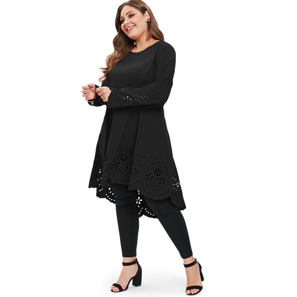 b8e1b998f4 AZULINA Women Dress Solid Color O Neck Long Sleeves Laser Cut High Low  Dress Plus Size Women Clothing Casual T-shirt Dresses 5XL