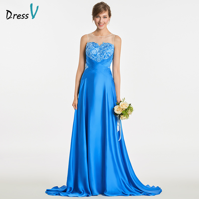 Dressv Long Royal Blue Bridesmaid Dress Sleeveless Floor Length Liques Sweep Train Wedding Party Prom