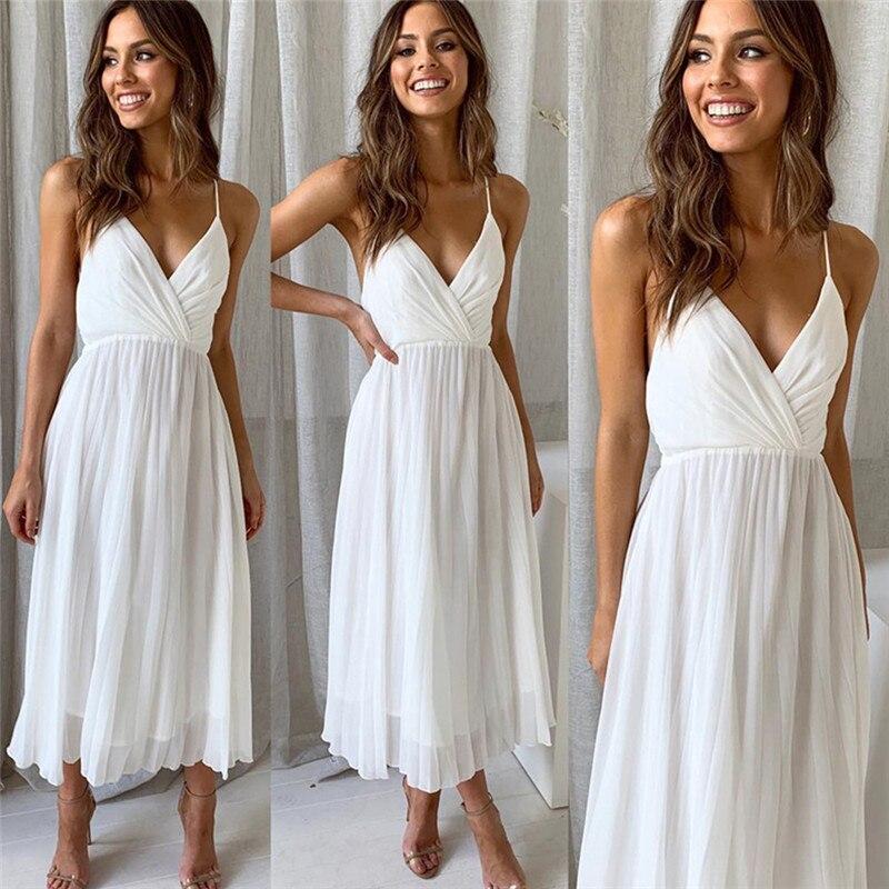 Elegant Spaghetti Strap Pleated Dress For Women  Summer V Neck Sexy Chiffon Dresses Beach Party White Vestidos
