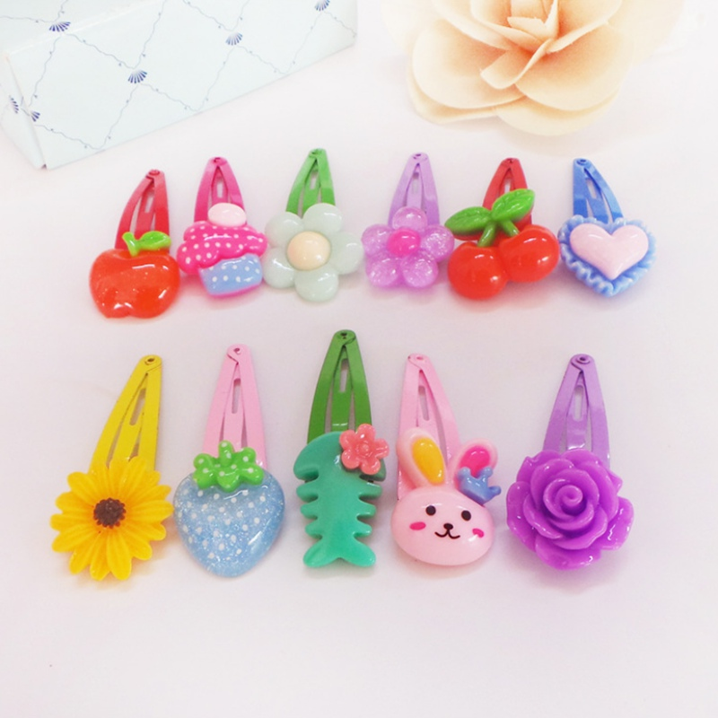 Random 1PCS Mix Color Kids Baby BB Clip Cute Flower Fruit Cartoon Animal Resin Child Hairpin Girl HairClip Accessories Headwear fashion barrette baby hair clip 10pcs cute flower solid cartoon handmade resin flower children hairpin girl hairgrip accessories