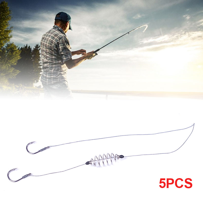 Hot 5 Pcs/Set Double-Hook Fishing Line Steel Barbed Carp Hooks Bait Feeder Accessories MCK99