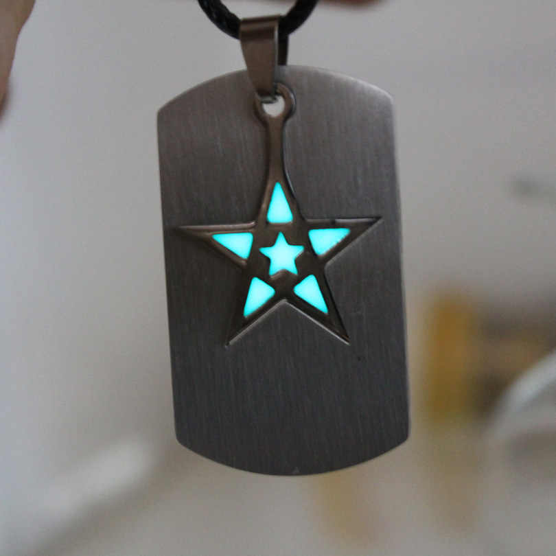 NEW Pentacle pentagram Necklace GLOW in the DARK stainless steel Necklace Five-pointed star Necklace night FOR YOURS