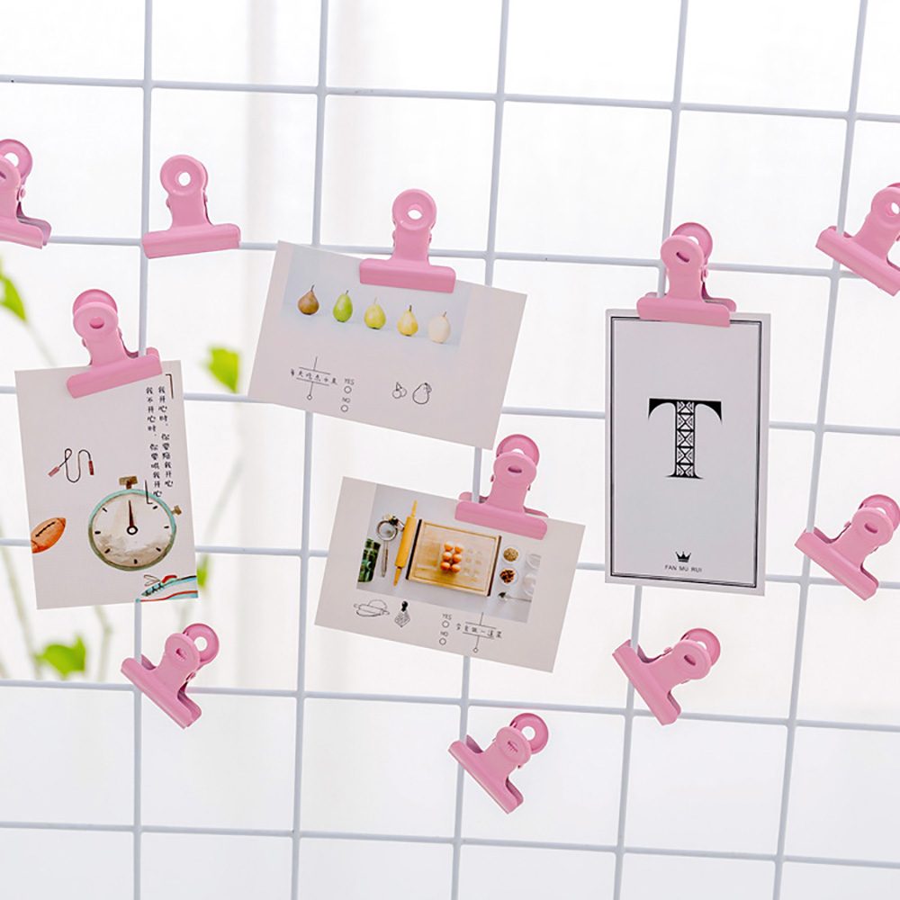 3PCS/Lot Pink Metal Binder Clips Folder Notes Photo Letter Paper Clip Clamp School Office Stationery For Kids Student