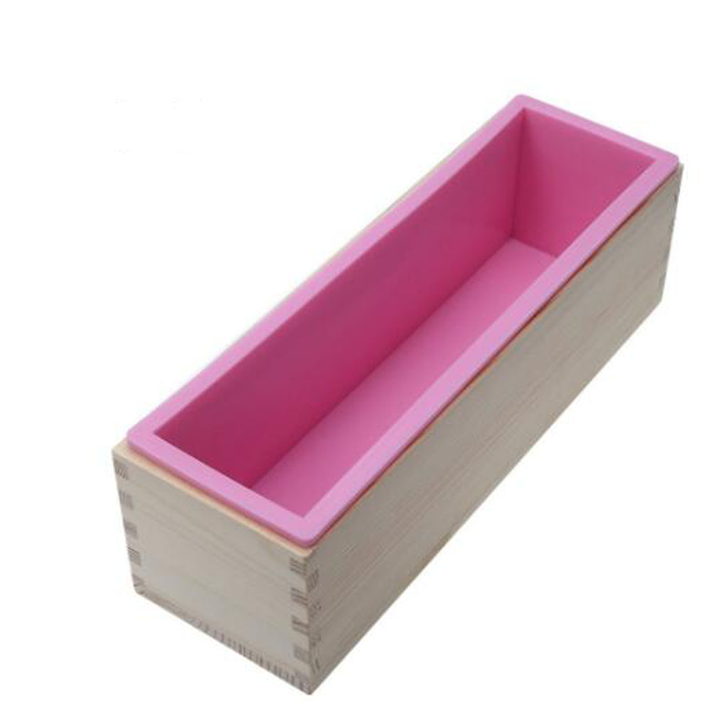 ჱnewest 1200g Rectangle Silicone Soap Loaf Mold Wooden Box With
