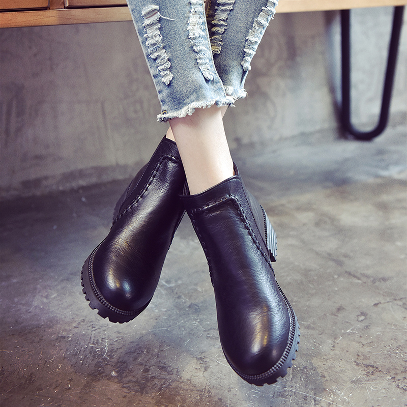 ФОТО Winter Black High-heeled Students with Black Boots Martin Boots Naked Boots Thick British style boots with Short Tide Shoes