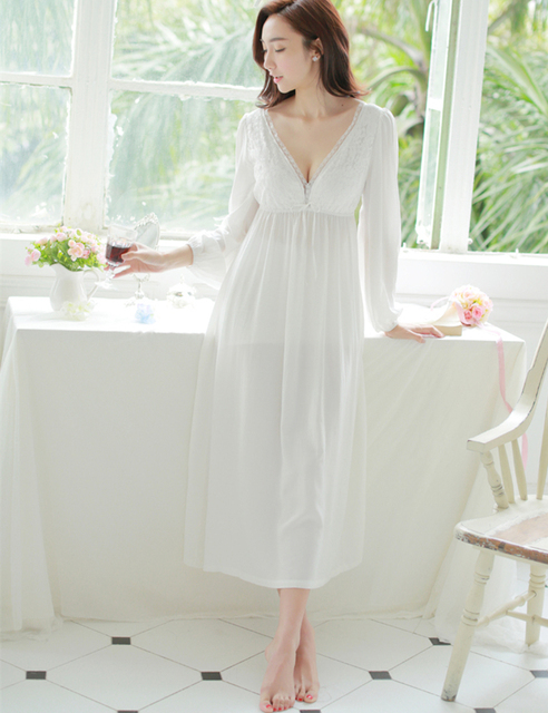 Spring and summer sexy V-neck lace nightgown princess sexy home dress  comfortable white sleepwear b079b1ae8