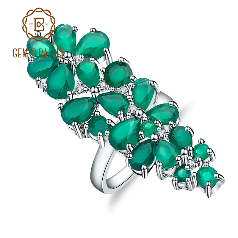 GEM S BALLET 8 22Ct Natural Green Agate Gemstone Cocktail Rings Solid 925 Sterling Silver Fine
