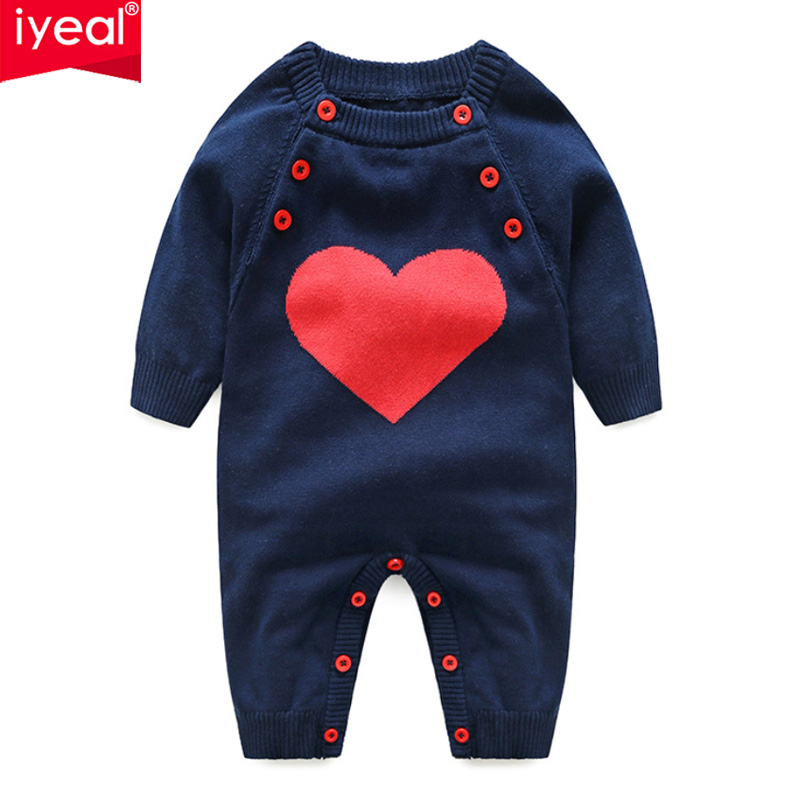 IYEAL Newborn Baby Cotton Unisex Knitted Romper Kids Boy Girls Infant Overalls 2018 New Arrival Fashion Jumpsuit Baby Clothes iyeal 2017 winter thick warm newborn baby clothes kids boy cotton long sleeve cute print romper toddler infant overalls 0 12m