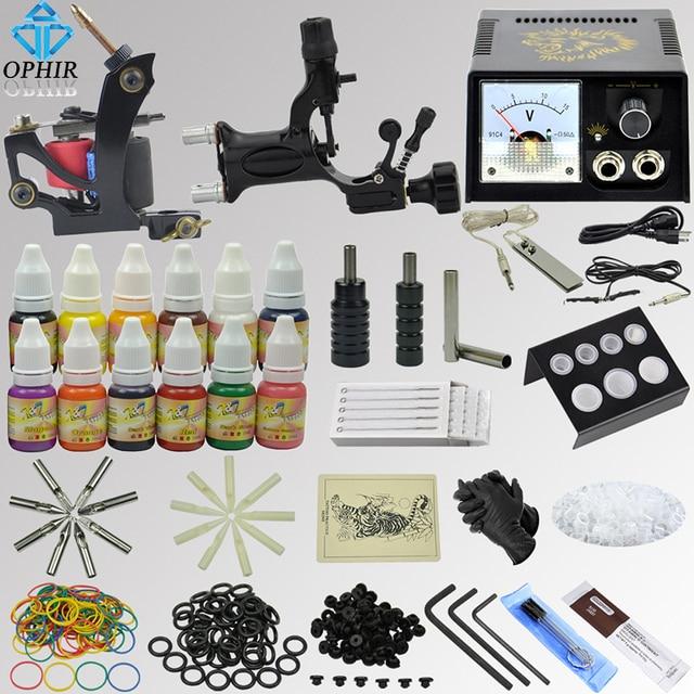 OPHIR 346pcs Professional Complete Tattoo Kit 2xTattoo Gun Machine with 12x10ml Colors Tattoo Inks Pigment Grip Needles _TA070