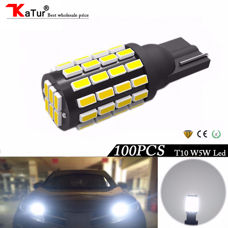 Katur 100pcs Auto LED Width Light T10 W5W 3014Chips 54LEDs For Car Replacement Bulbs Parking Lamp
