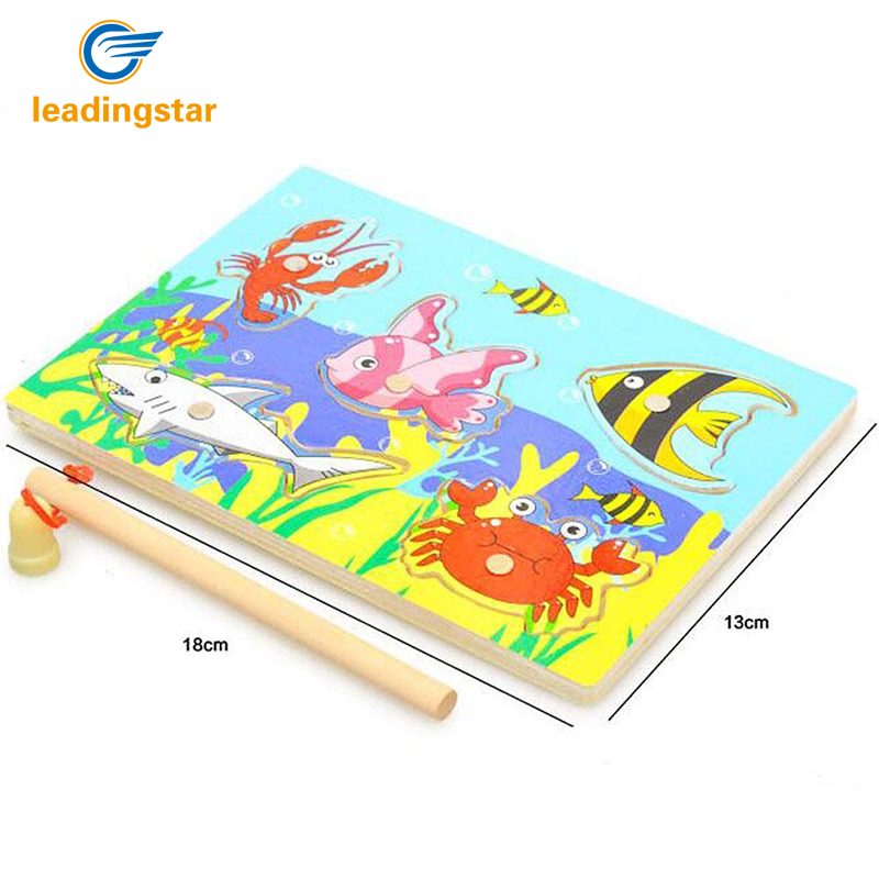 LeadingStar Children Magnetic Fishing Game with Jigsaw Puzzle Board Educational Toy for Boys and Girls zk15