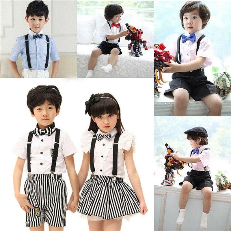 Soild Color Adjustable Elasticated Children Suspender Straps Y Shape Clip-on Boy's Suspenders 3 Clip Pants Braces For Girls Belt