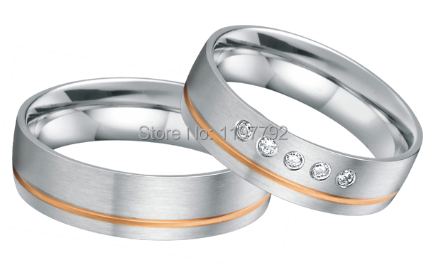 Tailor Made Luxury Western Rose Gold Color Inlay Health Surgical Stainless Steel Wedding Bands Rings Sets