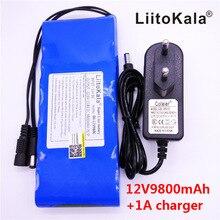 香港 LiitoKala 12 V 9800 mAh 18650 DC 12 V 12.6 12v スーパー充電式パック EU/米国プラグアダプター cctv カメラ用ビデオバッテリーポータブル