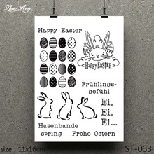 ZhuoAng 2019 New Easter Bunny and Eggs Clear Stamp Scrapbook Rubber Paper Craft Card Maker