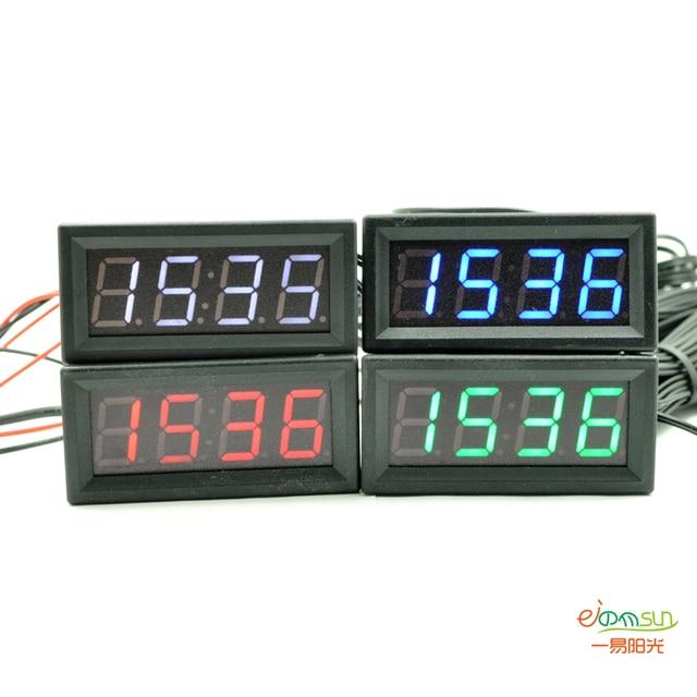3 in 1 Car Digital Auto Thermometer Voltmeter Clock Volt Temperature Monitor 12V24V Outdoor Indoor LED red color