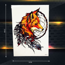 25 Style Large Body Art Tattoo Arm Sleeve Women Sexy Fox Waterproof Flash Fake Tattoo Onderarm Stickers 21x15CM Feather Decal