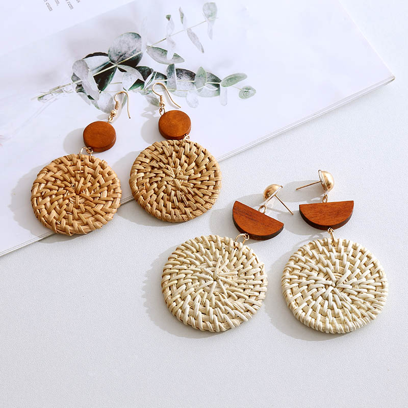 Fashion Bohemian Handmade Wooden Straw Woven Vine Rattan Knit Drop Earrings For Women 2019 Boho Round Geometric Long Earring
