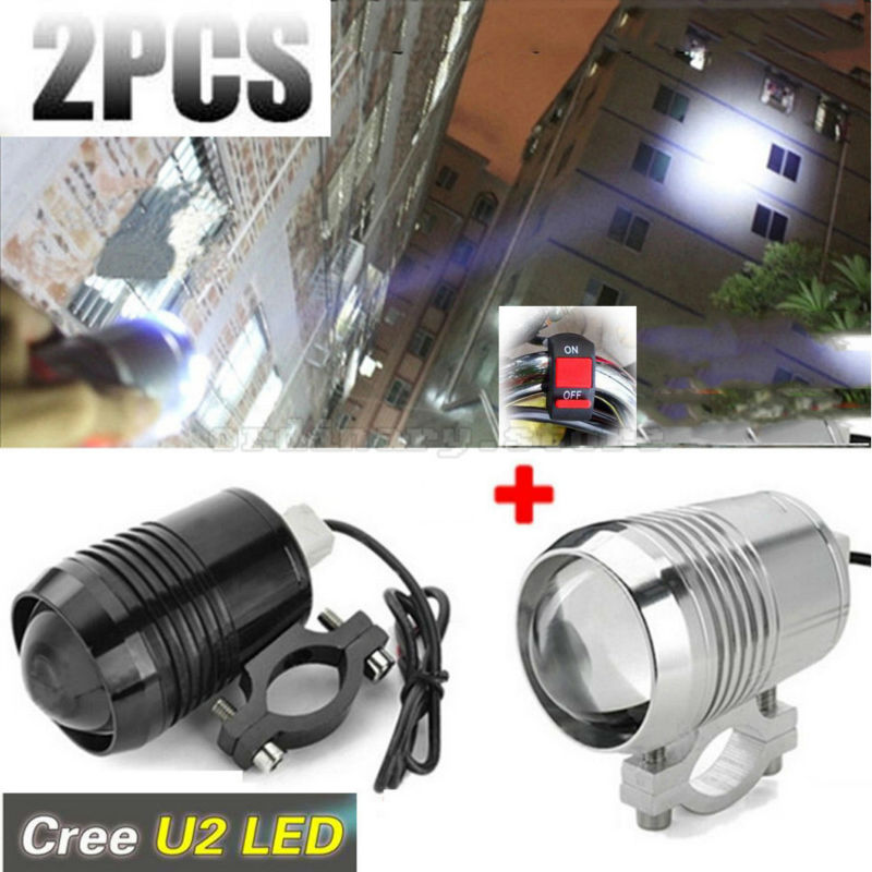 2pcs Super Bright Motorcycle Driving LED Headlight For U2 30W Spotlight Moto Fog Spot Light Night Waterproof With 1pcs Switch