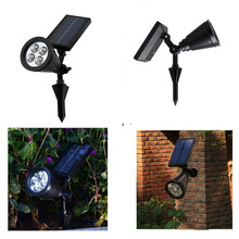 1Pcs Lawn Light Household Solar Energy 4LED Spotlight Insert The Ground Garden Wall Outdoor