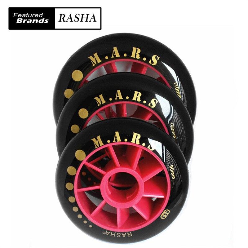 Prix pour 90mm RASHA skate roues inline Vitesse de patinage roues 85A noir rouge MARS roues pour patins 4 roues/lot