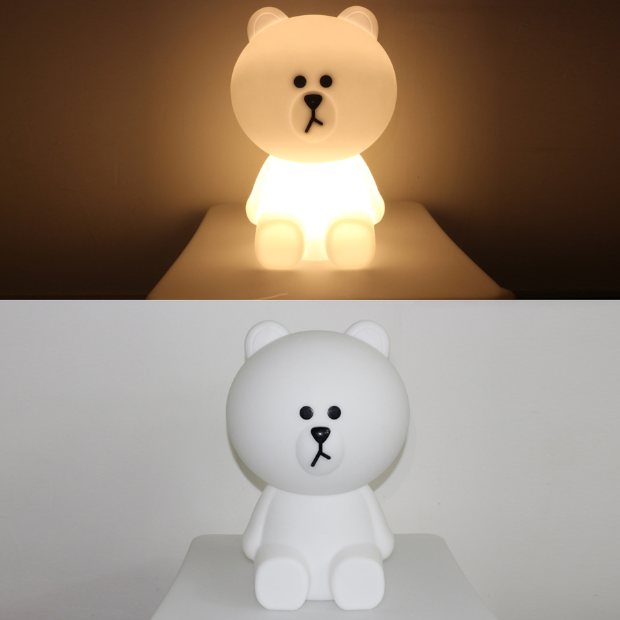 Bear Led Night Lights Dimmable Baby LED Night Lamps Bedroom Animal Cartoon Decorative Lamp Bedside Living Room Y2 - 2