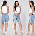 2017 Mulheres Verão Calções Sólidos Casual Mid Cintura Skinny Moda Estilo Botão Buraco Shorts Jeans de alta Qualidade Jeans