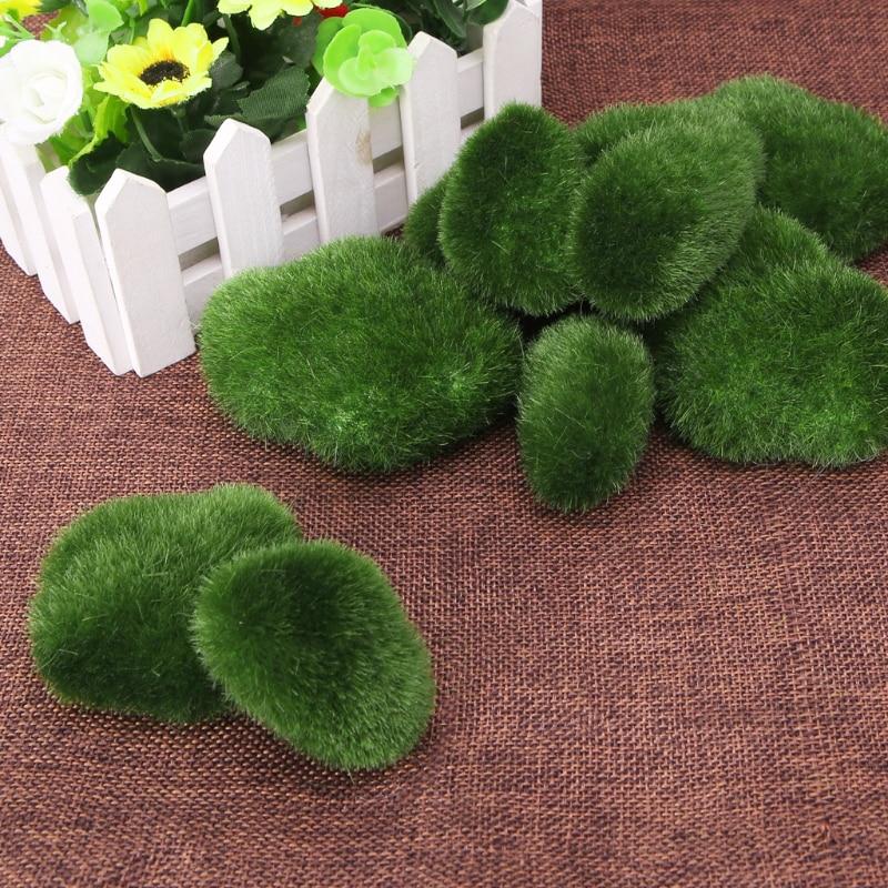 10pcs Artificial Moss Stones Grass Green Plant Home Garden Decor Landscape
