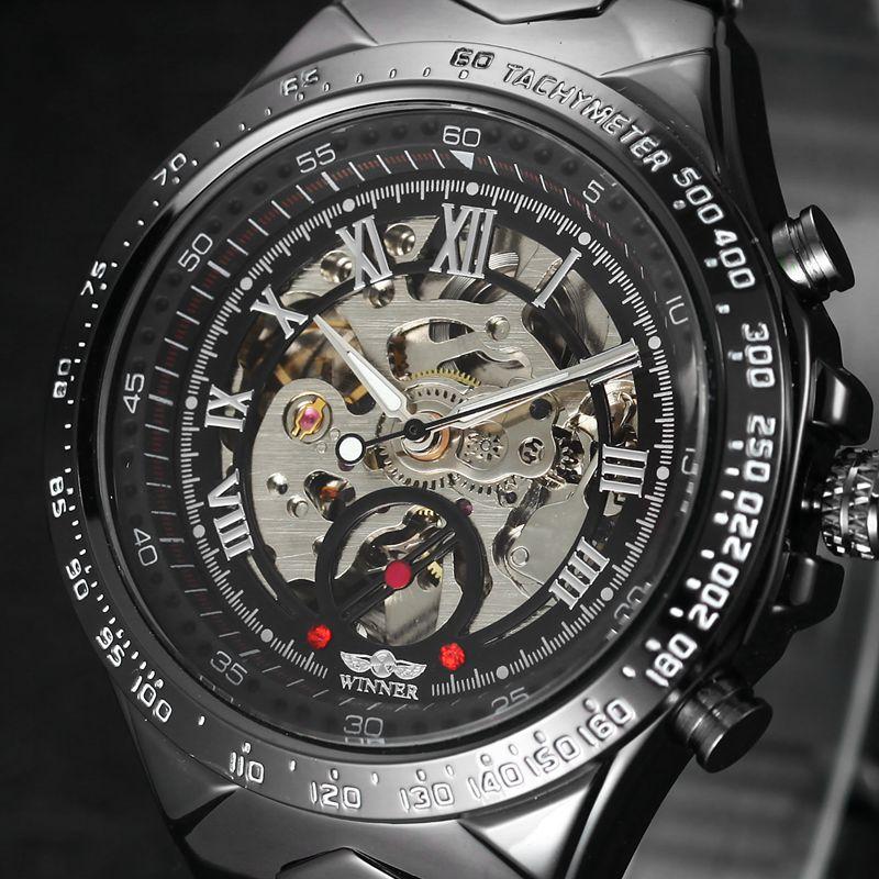 Prix pour Automatique Auto-vent Mécanique Montres Hommes de Montre De Luxe Célèbre Marque En Acier Inoxydable Squelette Montre Hommes En Plein Air Horloge