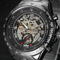 Mismo-viento automático Relojes Mecánicos hombres Del Reloj De Lujo Famosa Marca de Acero Inoxidable Reloj Esqueleto Reloj de Los Hombres Al Aire Libre