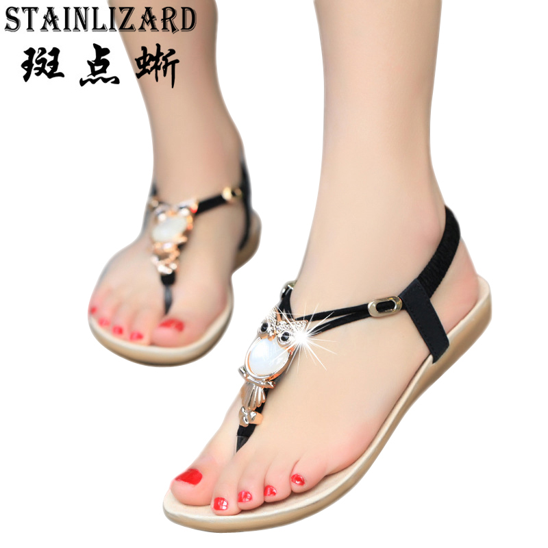 New summer shoes women fashion sweet flat women Sandals Bohemia beach Flip Flops Soft casual female Sandals shoes  Mujer BT143 2016 fashion summer women flat beaded bohemia ppen toe flat heel sweet women students beach sandals o643