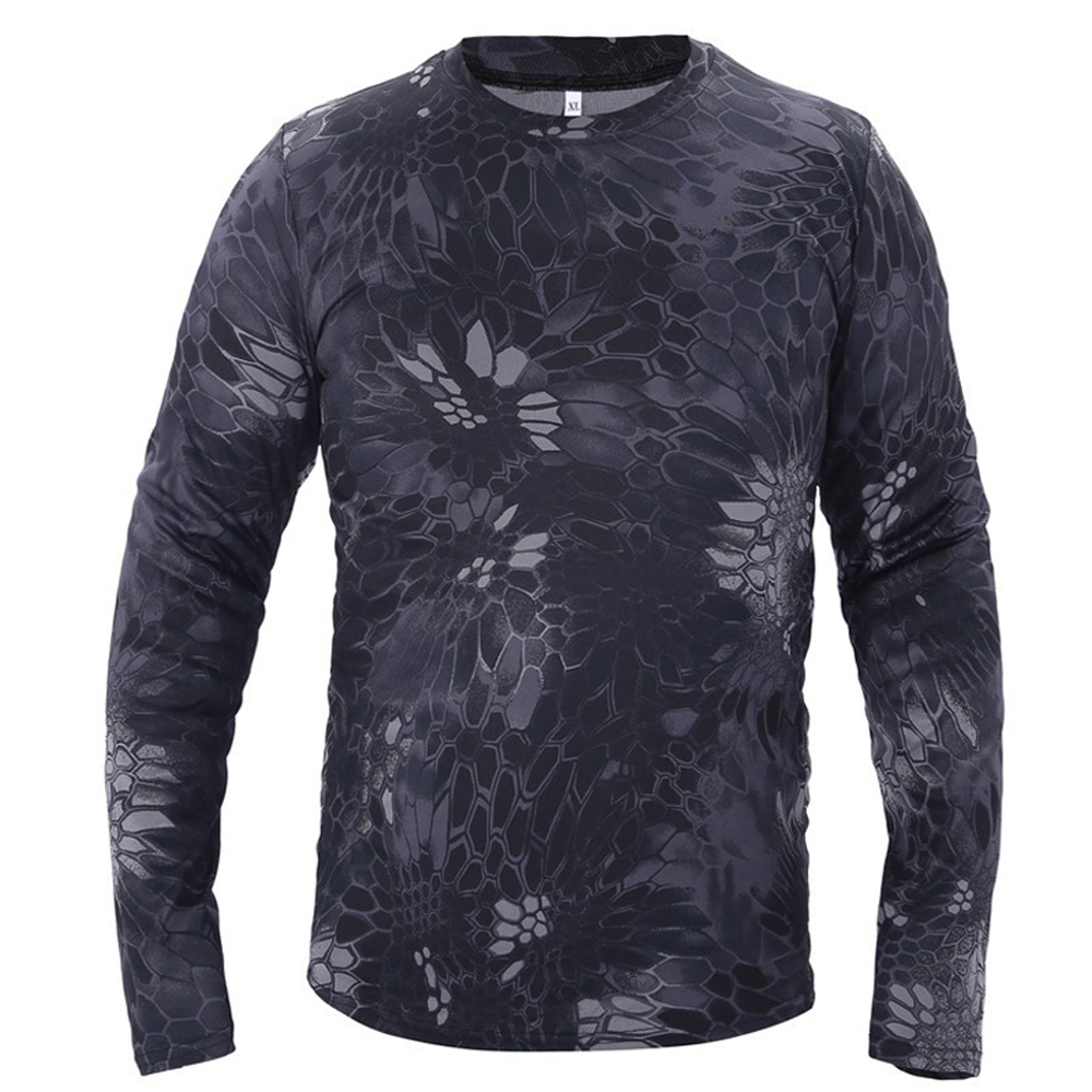 Contemplative New Style Men's Sportswear Outdoor Fishing Cycling Slim Quick-drying Camouflage Long Sleeve T-shirt Multiple Colors