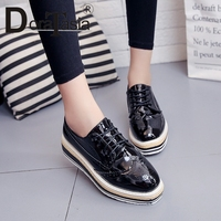 DORATASIA New Arrival Oxfords Shoes Lace Up Thick Platform Med flats Spring Autumn Shoes Woman 35 39