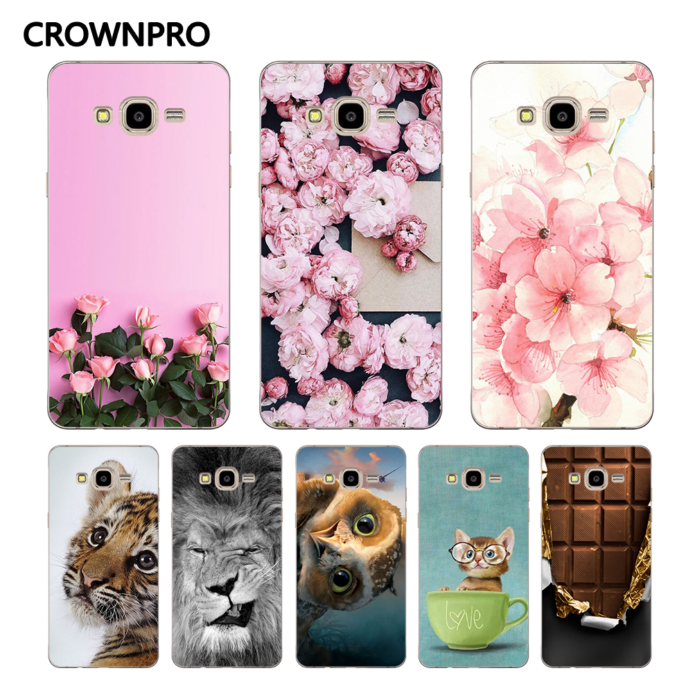 CROWNPRO Soft TPU FOR Coque Samsung Galaxy J5 2015 Case Cover J500 J500F Painted Phone Back FOR Funda Samsung J5 2015 Case image