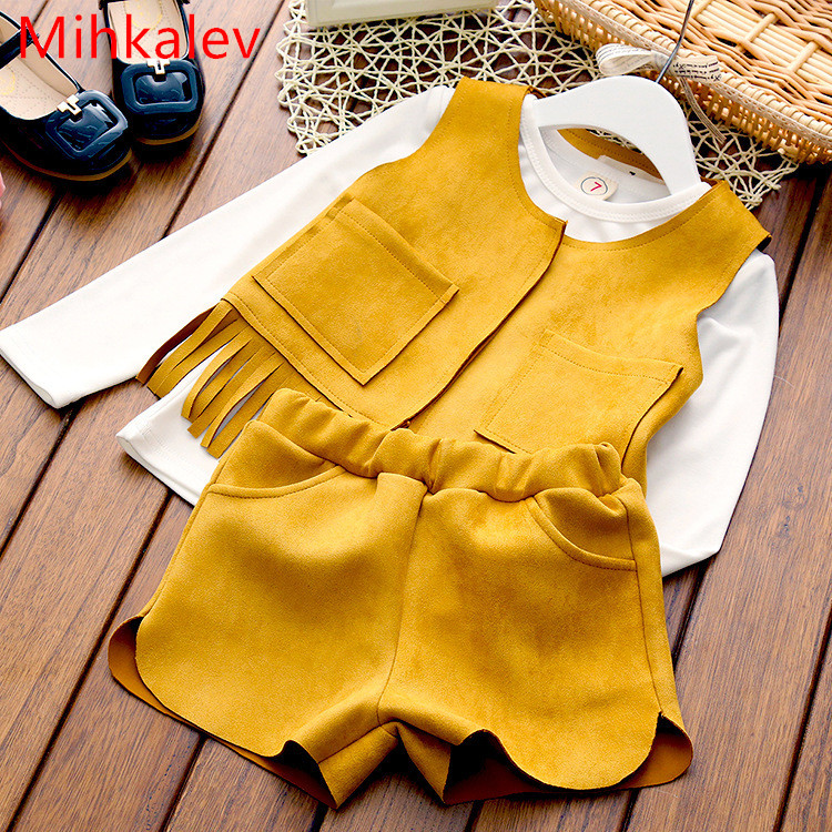 Mihaklev Casual baby girls autumn set suits 3PCS children clothing sets tops +vest + pants kids clothes for girl tracksuits 15 free shipping top striped dress children baby 3 pcs suit set girl s clothing sets girls sport suits chilren set