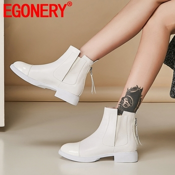 EGONERY woman shoes winter new concise round toe genuine leather ankle boots outside comfortable zip low heels platform shoes