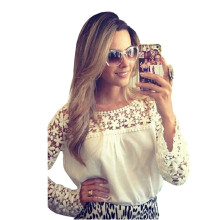 2018 Newest Trendy Adult White Floral Croche Lace Long Sleeve Chiffon Blouse Casual Loose Tops Shirt  LC25685 Feminine Blusas