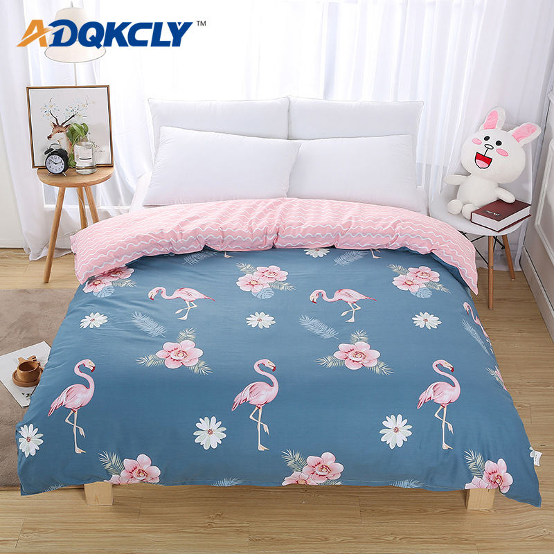 Bed 210 160.Adqkcly 2018 Flamingos Pattern Duvet Cover Pink Gray Grid Quilt