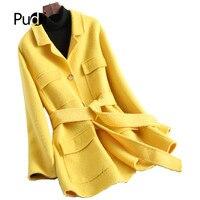 PUDI A20213 2019 новинки для женщин модная шерстяная куртка леди длинный стиль ремень Досуг Осень/зима шерстяное пальто